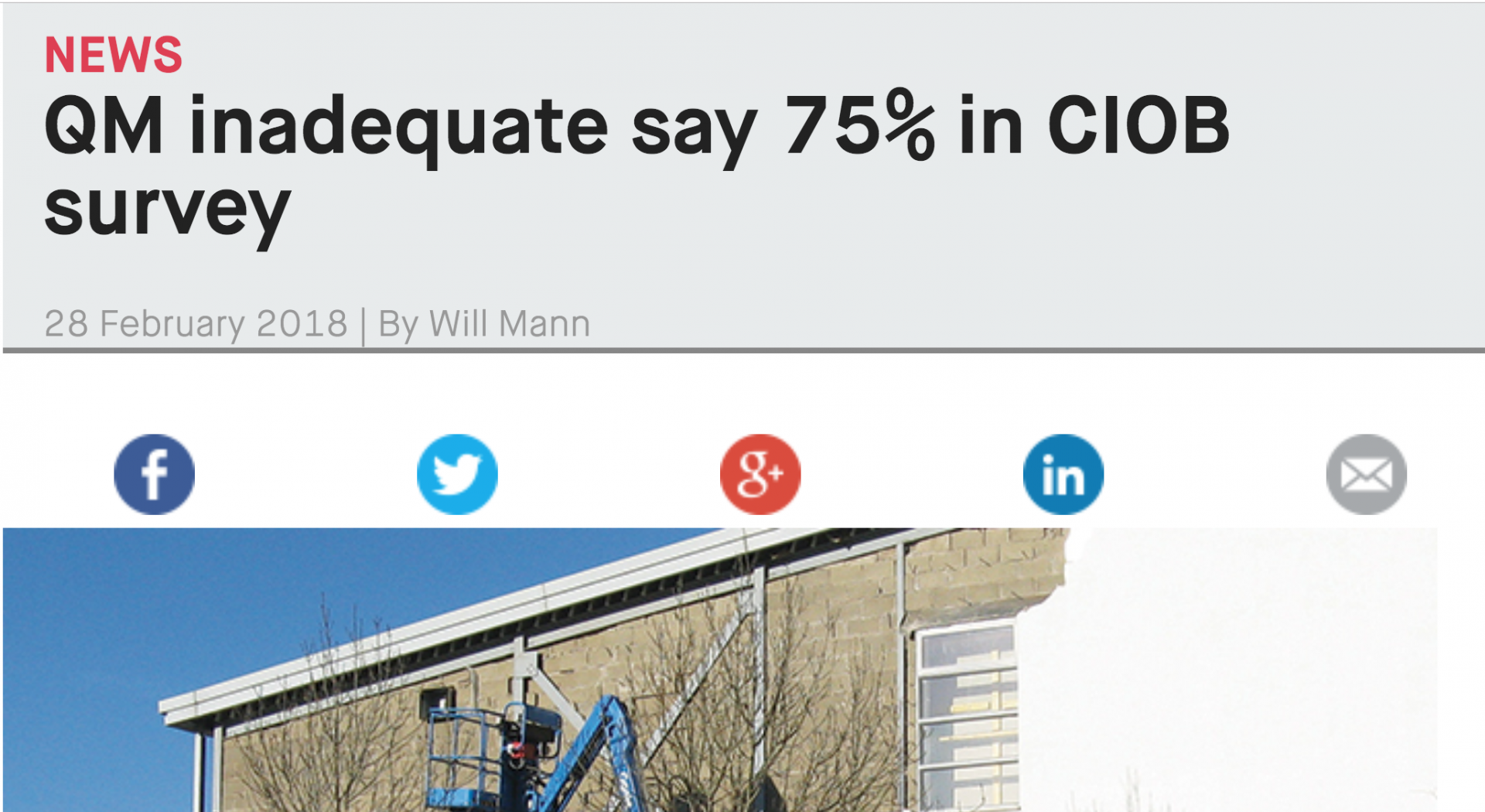 Industry article: CIOB on inadequate Quality Management